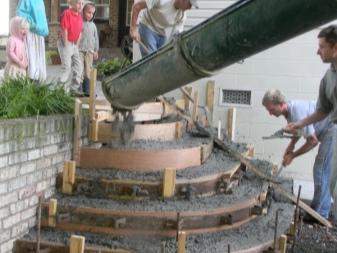 Enchimento de uma armação de um concreto de alpendre