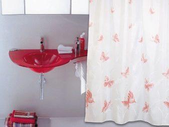 Rode Accessoires Badkamer : Stoffen gordijn voor de badkamer: gordijn voor de badkamer dubbel