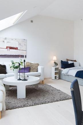 Projekt i wnętrze apartamentu typu studio o powierzchni 26 metrów kwadratowych. m