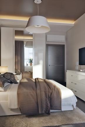8 वर्ग मीटर के डिजाइन बेडरूम क्षेत्र। मीटर।