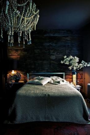 काले रंगों में बेडरूम