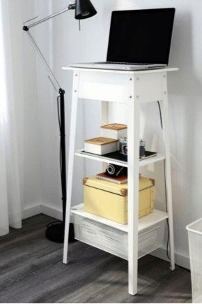 Таблици за лаптоп от Ikea: дизайн и спецификации