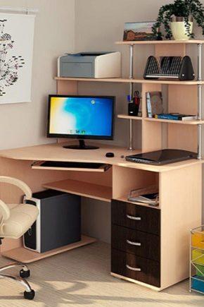 Välja datorhörnbord med hyllor och lådor