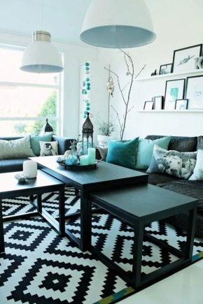 How to make the living room in turquoise?