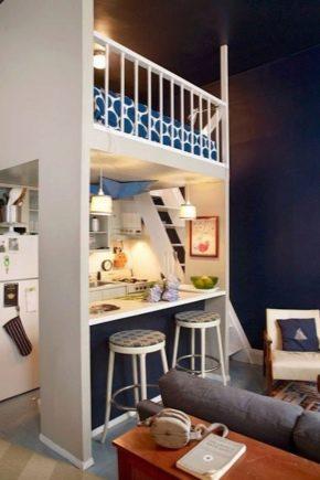 Vi väljer layout för en studio lägenhet