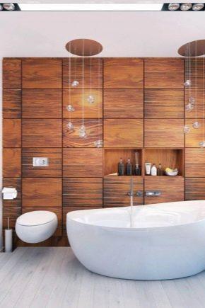 Trä imitatiska plattor i badrummet: efterbehandling alternativ och funktioner i valet