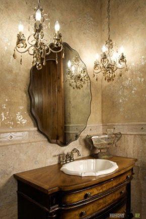 Lumières au-dessus du miroir de la salle de bain: critères de sélection et idées de design