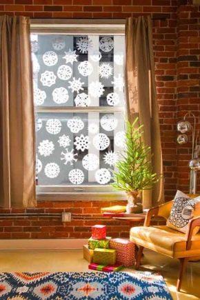 Nós decoramos as janelas para o ano novo