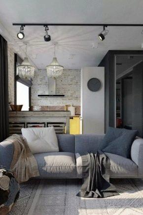 Design kök-vardagsrum storlek 19 kvadratmeter. m