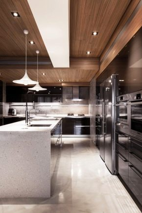 Ceiling design in the kitchen-living room