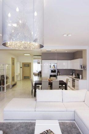 Layout och inredning av kök-vardagsrum storlek 14 kvadratmeter. m