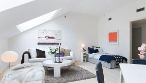 Design and interior of a studio apartment of 26 square meters. m