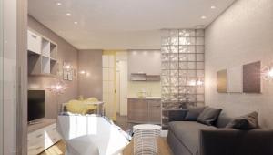 Design studio apartment of 28 square meters. m