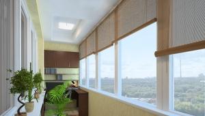 Choosing curtains on the balcony