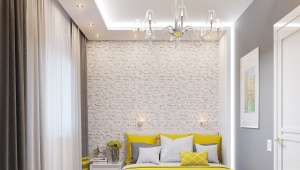 Design bedroom area of ​​16 square meters. m