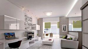 Conception d'un appartement de deux chambres de 60 mètres carrés. m: idées de design