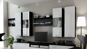 Glossy walls for the living room in the interior