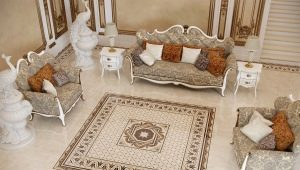 Beige tile on the floor: examples in the interior