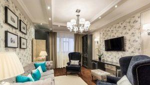 Surface du salon design de 17 mètres carrés. m dans la maison des panneaux: solutions élégantes et pratiques