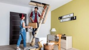 Attic stairs with a hatch: distinctive features