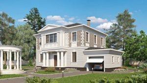 Zweistöckige Häuser mit Garage: interessante Projekte