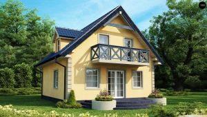 Zweistöckiges Haus mit Dachboden: die Auswahl der Materialien und Beispiele von Projekten