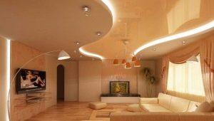 Enregistrement des plafonds tendus à deux niveaux avec éclairage
