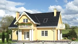 Projects of brick houses with attic
