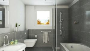 Gray tiles in the bathroom: sizes, colors and design ideas