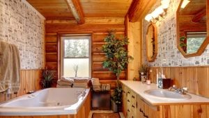 Bathroom in a wooden house: interesting design solutions