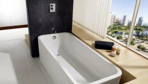 Funktioner i beräkningen av volymen av skålen i badet i liter och reglerna för att spara vatten