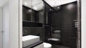 Toalett i svart: fördelar och idéer av design