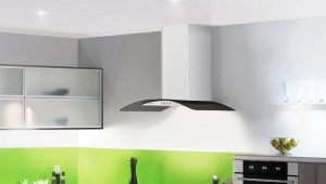 White hood in the interior of the kitchen