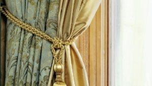 Tillbehör till gardiner: dekor och tillbehör, vackra exempel i inredningen