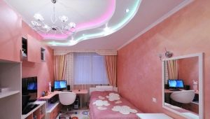 Features and types of stretch ceilings in the nursery for girls