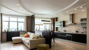30 वर्ग मीटर के रसोईघर-रहने का कमरा डिजाइन करें। मी: योजना और जोनिंग के लिए विकल्प
