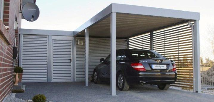 Garager med baldakin: En översikt över moderna projekt, alternativ med hozblok