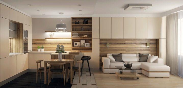 Salon-cuisine dans le style du minimalisme: caractéristiques et caractéristiques