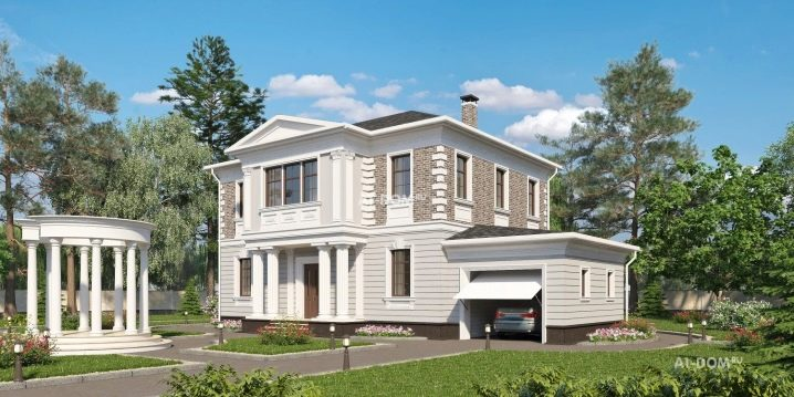 Two-story houses with a garage: interesting projects