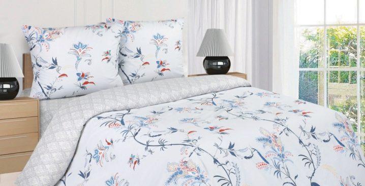 Sängkläder från poplin: egenskaper, komposition och betyg av tillverkare av tyg