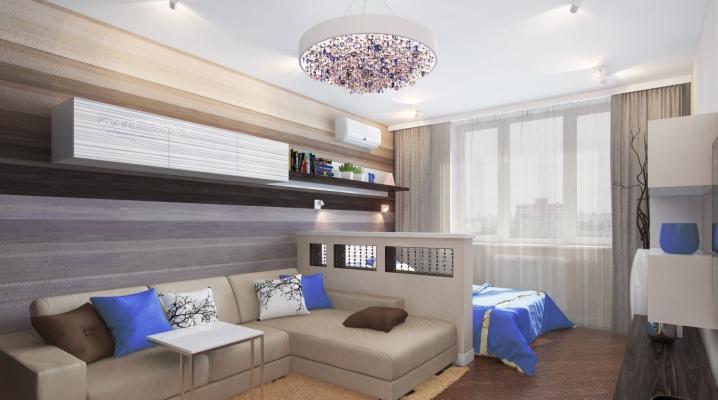 Design living room-bedroom area of 14-15 square meters. m