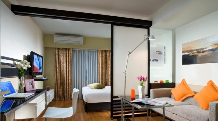 20 négyzetméteres nappali-hálószoba. m
