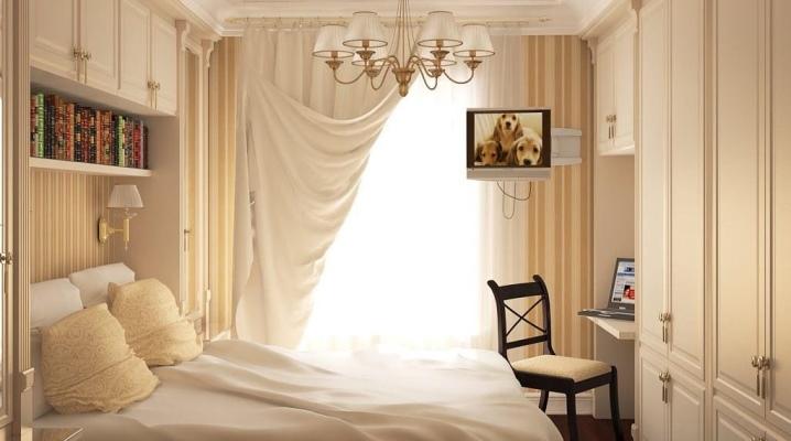 Design kis hálószoba 6-7 négyzetméter. m