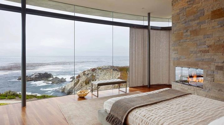 Bedroom design with panoramic, two or three windows