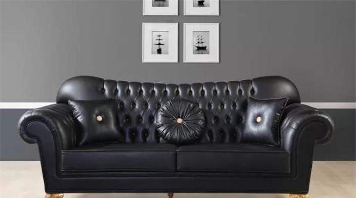 Canapés en cuir noir