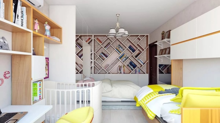 We combine a bedroom for parents and a children's area in the same room.