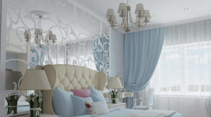 नीले रंग के टन में बेडरूम
