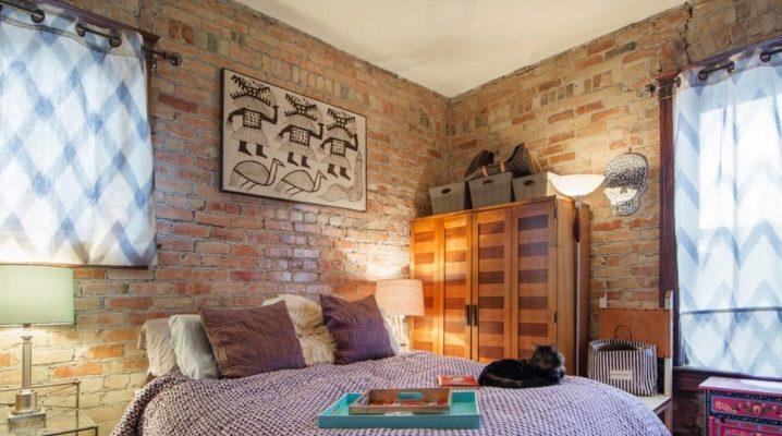 Idées d'intérieur de chambre à coucher avec mur de briques