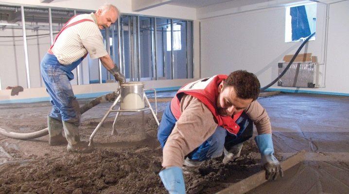 Cement-sand screed: egenskaper av val och hällning