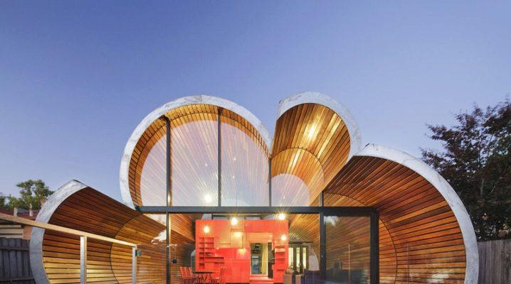 Fasader av hus i olika fashionabla stilar